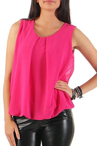 Malito Damen Bluse ärmellos | Tunika mit Rundhals | leichtes Blusenshirt | Elegant - Shirt 6879 (pink)
