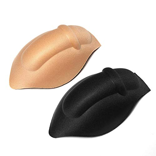 SoSickWithIt ElsaYX Men's Bulge Enhancing Underwear Cup Sponge Pad Swimwear Padded, 2 Pairs Style 02- Black/Beige, One Size