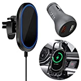 【2021 Upgraded】 Magnetic Wireless Car Charger for Mag-Safe Case/iPhone 12/12 Pro/ 12 Pro Max/ 12 Mini with QC3.0 Adapter 15W/ 10W/ 7.5W Fast Wireless Car Charger Mount with Secure Air Vent Clamp