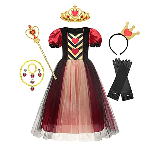 chenfeng Girl's Cosplay Dress Alice Princess Party Dress Kids Girls Halloween Poker Red Queen of Hearts Cosplay Birthday Gift Christmas (Color : Red Queen 3, Kid Size : 3-4T)