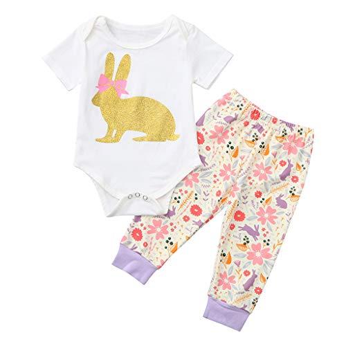 Kobay Ostern Baby Kleidung Set, Neugeborenes Baby Mädchen Osterhasen Outfits Strampler Tops + Floral Hose Set (My 1st Easter) (Weiß-2, 90/6-12M)