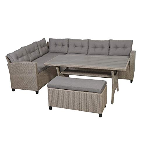 Mendler Poly Rattan Garnitur HWC-E96, Garten-/Lounge-Set Sofa Sitzgruppe, 238cm Spun Poly halbrundes Rattan Tischplatte WPC grau