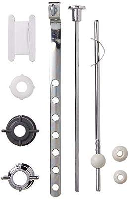 PF WaterWorks PF0907 Assembly Lavatory Pop-Up Drain Repair Kit-Threaded Adjustable Center Pivot Nuts (Universal, Moen, Pfister), 3 Sizes of Balls, Clip, Linkage, Pull Rod, (Plastic), Chrome