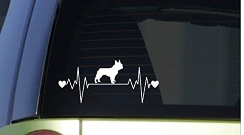 CCI Creative Concept Ideas French Bulldog Frenchie Heartbeat Decal Vinyl Sticker|Cars Trucks Vans Walls Laptop| White |7.5 x 3.25 in|CCI629