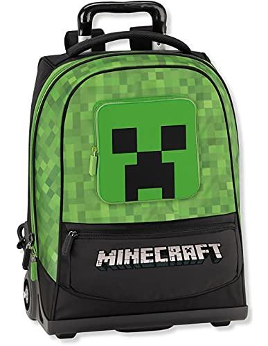 Minecraft - Mochila escolar con ruedas, color verde + 7 bolígrafos borrables y llavero con forma de cubo y...