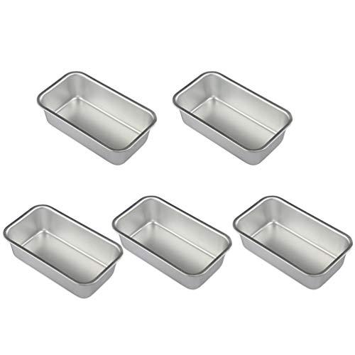 DOITOOL 5pcs Rectangular Loaf Pans Cheesecake Pan Baking Tray Nonstick Aluminum Alloy Cheesecake Pan (Silver)