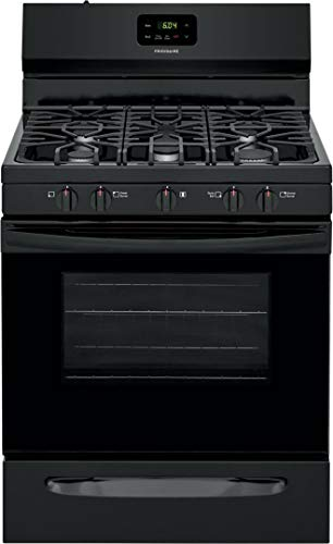 Frigidaire FCRG3052AB 30' Freestanding Gas Range with 5 Sealed Burners 5 cu. ft. Oven Capacity Edge-to-Edge Continuous Grates Store-More Storage Drawer in Black