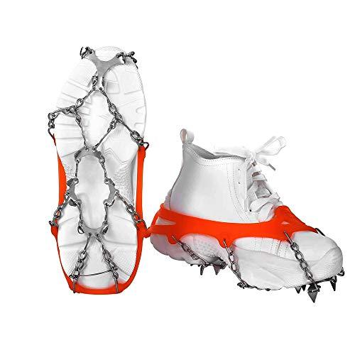 VICSPORT Ice Tacchetti,12 Denti Ramponi Ghiaccio per Stivali e Scarpe Slittata Ramponi ad Artiglio Ice Tacchetti Ramponi per Outdoor Inverno Neve Escursionismo Camp Trekking