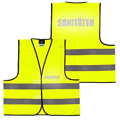 Warnweste Gelb Orange, beidseitig bedruckt auf Brust und Rücken Reflex mit Ordner, Security große Auswahl Motive Aufdrucke 017 Sanitäter (Gelb) XL