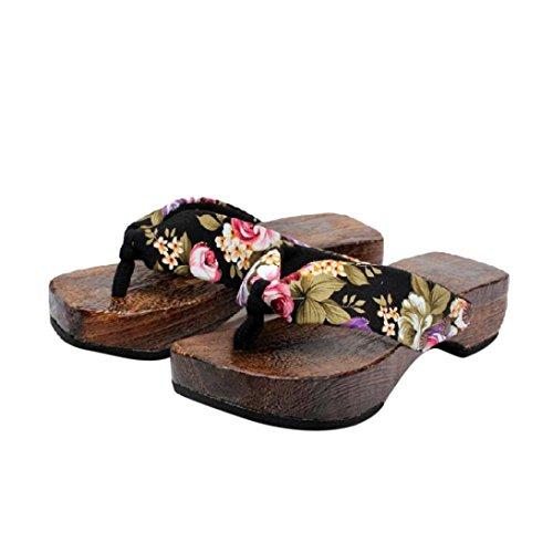 ZARLLE Sandalias Casuales Zapatos De Playa Sandalias Romanas Chanclas De Damas Plataforma De Verano Zapatos Mujer Zuecos De Madera Madera Chanclas Sandalias Zapatillas (39, Negro)