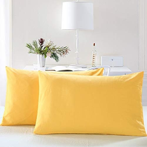 AWLAND Pillowcases Standard Size Pillow Cases Protectors Egyptian Microfiber 19 x 29 inch Bedding Pillow Covers Set of 2 - Yellow