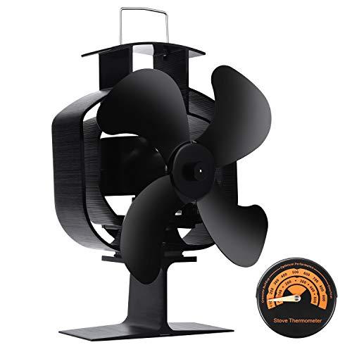 Stromloser Ventilator für Kamin Holzöfen Öfen, 4 Flügel Kopfschütteln Kaminventilator 46° Drehwinkel – Umweltfreundlich [Energieklasse A+++]