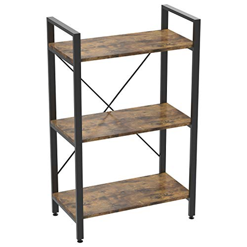 IRONCK Bookshelf Industrial Bookcase Home Decor, Wood Look Accent Furniture Metal Frame