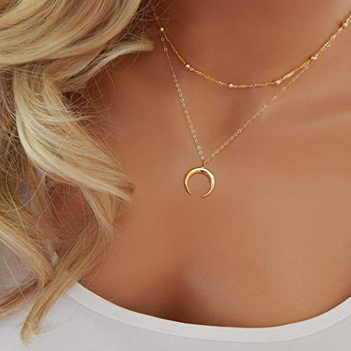 TseenYi Collar con colgante de luna creciente de oro, collar de doble cuerno con cuentas, gargantilla de clavícula, cadena para mujeres y niñas (oro)