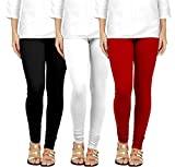 Women's Skinny Combed Cotton Skinny Leggings (Black, White and Red, Free Size) -Set of 3