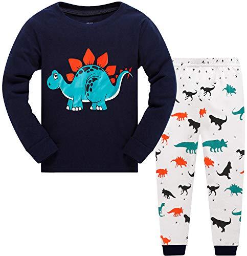 EULLA Jungen Schlafanzug Dinosaurier Bagger Baumwolle Nachtwäsche Kinder Pyjama,03-Dinosaurier,110