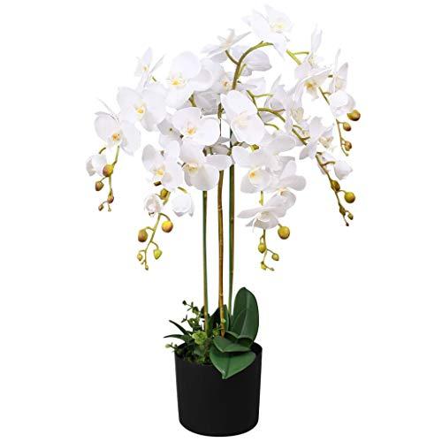 vidaXL Künstliche Orchidee mit Topf Kunstpflanze Kunstblume Dekoblume 75 cm Weiß
