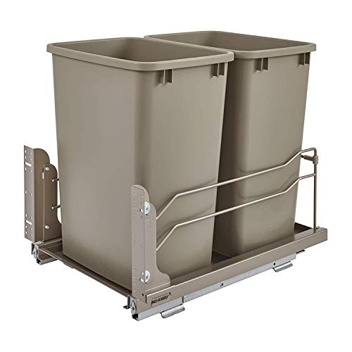 Rev-A-Shelf 53WC-1835SCDM-212 Double 35-Quart Pull-Out Under Mount Kitchen Waste Container Trash Cans with Soft-Close Slides Champagne