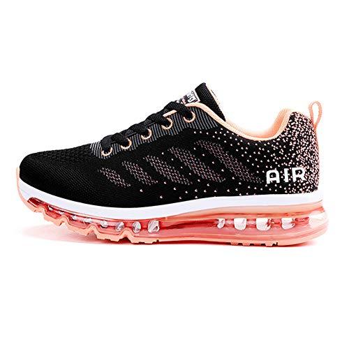 Monrinda Damen Sportschuhe Herren Laufschuhe mit Luftpolster Turnschuhe Sneakers Leichte Sport Schuhe Outdoor Trainers Wblackpink 37