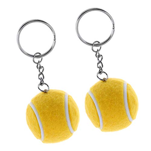 Colcolo 2X Mini Tennisball Schlüsselbund Schlüsselring Metall Schlüsselring