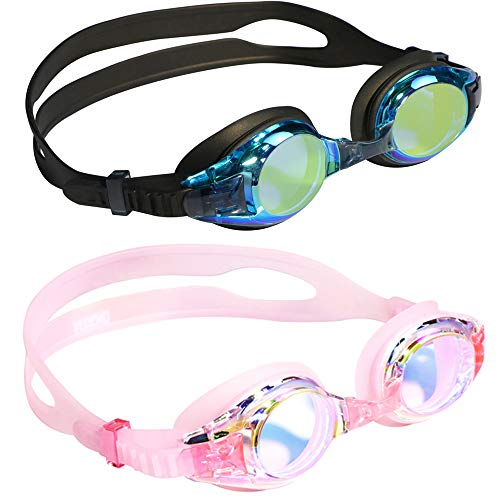 Aegend 2 Pack Kids Goggles, Swim Goggles for Kids Age 4-16 Little Boys and Girls Youth Swim Goggle, Clear Vision, Soft Silicone, No Leak, UV Protection, Anti-Fog, Free Protection Case, Black & Pink