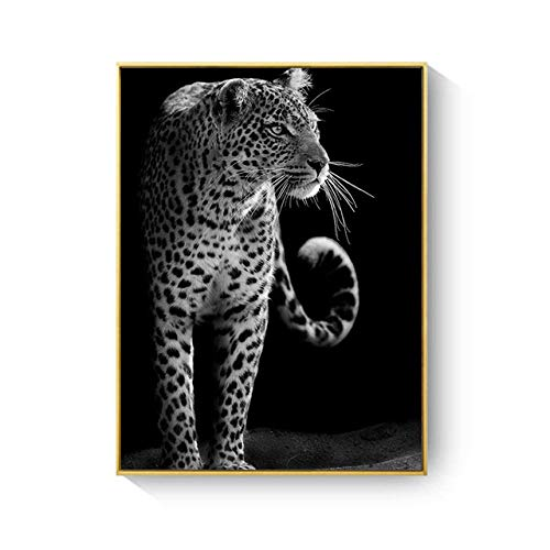 LiMengQi2 Schwarzweiss-Wildtier-Leinwand-Malerei-Löwe-Elefant-Leopard-Tiger-Wandkunst-Bild für Wohnzimmer-Wandkunst-Druck-Plakate (kein Rahmen)