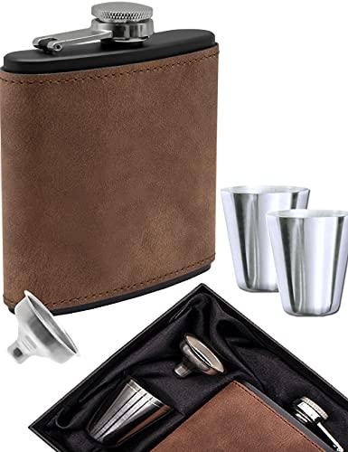 Outdoor Saxx® Fiaschetta effetto pelle scamosciata marrone/nero, 175 ml, tazza da liquore in acciaio inox + imbuto