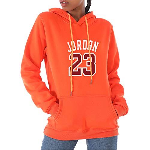 23 Femeninas Jordan Hoodie Fashion Marca Impresión De Suéter De Manga Larga, Sport Capucha Pullover Gym Track M-3xl Orange-XXXL