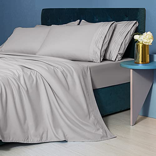 LIANLAM King Size Sheet Set - 6 Piece Bed Sheets - Super Soft Brushed Microfiber 1800 Thread Count - Breathable Luxury Sheets Deep Pocket - Wrinkle Free (Grey, King)
