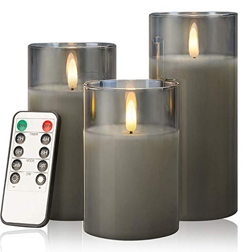 AnnSpa 3 Set Glod Glas LED Kerzen Batteriebetriebene mit Fernbedienung, Flammenlose Echtes Wachs Flackern Moving Wick Flackern Yellow Light Pillar Candles für Weihnachten, Party, Hochzeit (Grey)