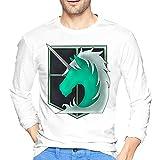 Attack Animetitan - Camiseta de manga larga para hombre, estilo informal, 100% algodón, cuello redondo, manga larga, cómoda, blanco, S