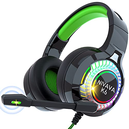 Nivava Gaming Headset for PS4, Xbox One, PC Headphones with Microphone LED...