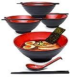 4 juegos (12 piezas) de 51 Onzas de Tazones Grandes para Sopa de Fideos de Ramen Japonés Cuencos de Melamina de Plástico Duro (4, Negro, 8.6 Pulgadas)