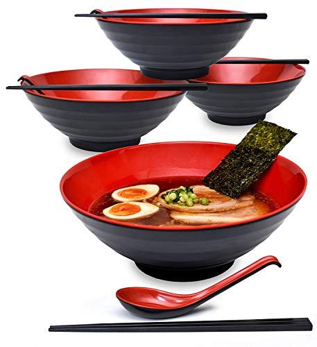 4 Sets (12 Stück) 1500 ml große japanische Nudelsuppenschüssel/Ramenschüssel aus Melamin - Schüssel-Set für Udon Soba Pho Asiatische Nudeln