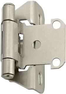 Amerock BPR7566G10 1/4 in (6 mm) Overlay Self-Closing, Partial Wrap Satin Nickel Hinge - 2 Pack