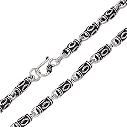 ASUROM Reines Silber 925 Sterling Silber Herren Lange Dicke Halskette Herrliche Persönlichkeit Fassperlenkette Thai Retro Silberkette