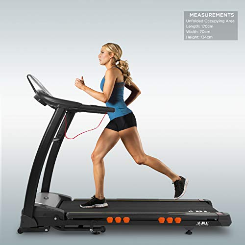 JLL S400 Folding Treadmill, 2020 New Generation Digital Control 4.5HP Motor, Large Running Area, 20 Level Incline, 15 Programmes, Speakers, Bluetooth, USB & AUX, 16 Point Cushion Deck, LCD Display