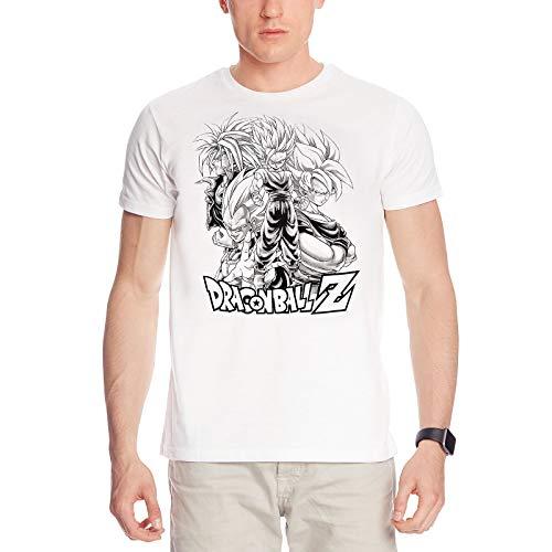 algodón Blanco de Dragon Ball Z Sayan Grupo Camiseta - L