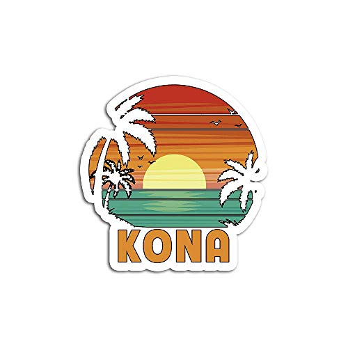 Christmas Decal Stickers for Laptop Sticker for Tumblers Kona Hawaii Island Beach Surf Sail Sunset Palms Ocean Vacay Waterproof Decal Perfect for Phone Water Bottle Vehicles (5 Pcs/Pack)