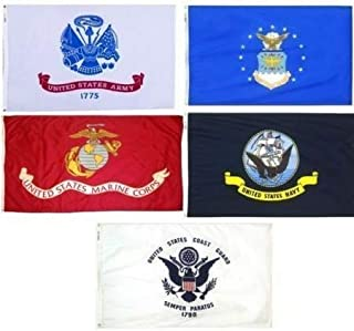 3X5 Military 5 Branches Armed Forces Army Air Force EGA Marines USMC Navy Ship Coast Guard Double Sided Nylon Flag Set Fla...