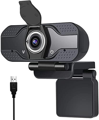 Webcam 1080P con micrófono Webcam de escritorio para ordenador, cámara de transmisión en directo HP, cámara de vídeo con tapa de privacidad Webcam USB para grabación de videollamadas Conferencia