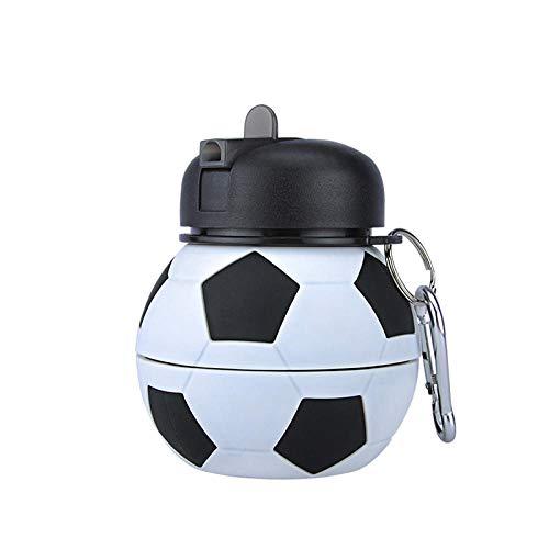 Jusemao Botella de agua plegable de silicona Botella de agua creativa de los niños Botella de agua portátil a prueba de caídas y a prueba de fugas Botella de agua de silicona 550ml-550ml