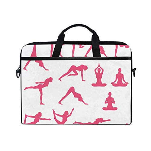 FOURFOOL 15-15.6 inch Laptop Bag,Yoga Pink Silhouettes Flexing Print,New Canvas Print Pattern Briefcase Laptop Shoulder Messenger Handbag Case Sleeve