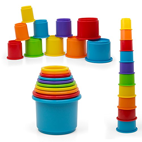 Rainbow Nesting & Stacking Cups Baby Building Set. 10 Pieces. With Embossed Animal Characters. For Indoor, Outdoor, Bathtub, And Beach Fun Toy. Multi Colors