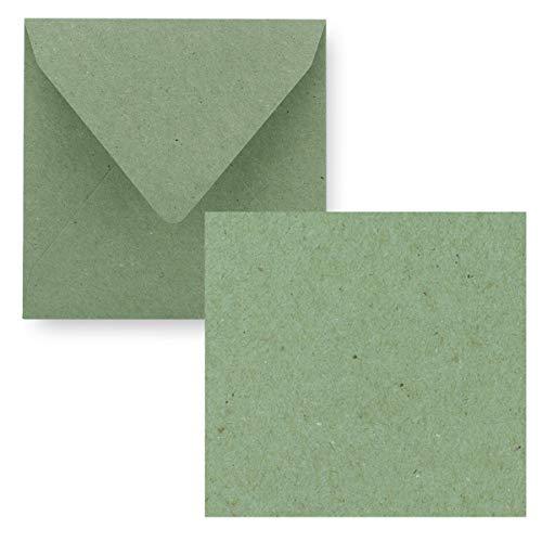 Juego de tarjetas individuales cuadradas de 15 x 15 cm, con sobres de carta, papel de estraza verde, 25 unidades
