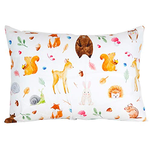 """ADDISON BELLE 100% Organic Toddler Pillowcase Fits Both 13""""x18"""" and 14""""x19"""" Pillows - Soft, Durable & Breathable (Woodland Animals)"""