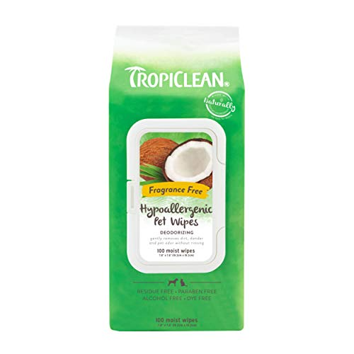 TropiClean Hypoallergenic Cleaning Wipes for Pets, 100ct - Deodorizing Wipes for Dogs, Cats, Puppies & Kittens with Allergies & Sensitive Skin - Gently Removes Dirt, Dander & Odor - Fragrance Free