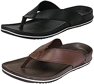 jabra Men's Perfect Combo Pack of 2 Black and Brown Stylish Casual Slippers for Men's (9)