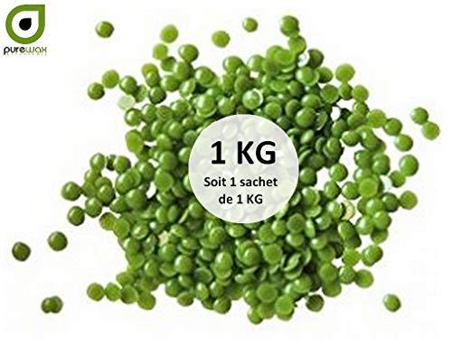 Pastilles de cire à épiler pelable VERTE, PUREWAX By Purenail, épilation sans bande - 800gr+200gr GRATUIT, soit 1kg, TOP PROMO