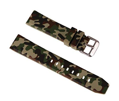 22mm eleganti cinturini camo verde per la sostituzione banda di uomini gomma siliconica per orologi Sport Diver